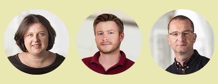 Porträts von Amina Alagic, Philipp Gutschmidt und Claus Bodenstein.